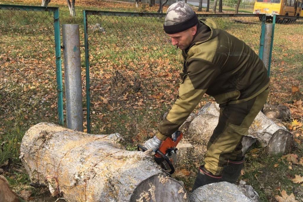 Сотрудники МЧС помогли убрать территорию Социального приюта для детей и подростков Клинцовского района от сухой травы и листвы